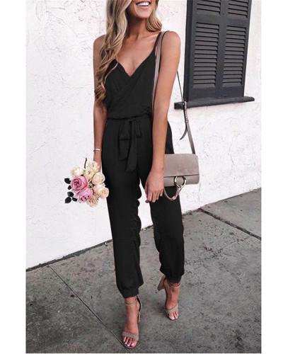 Black Solid color suspender belt jumpsuit