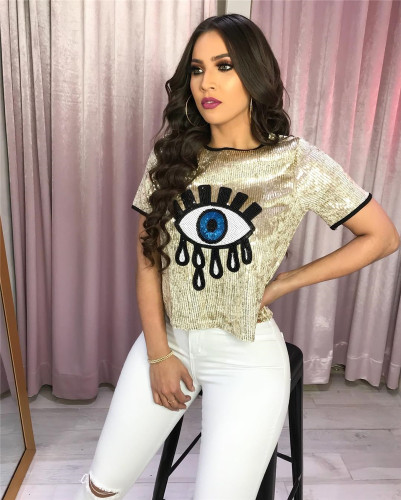 Gold Sexy nightclub big eyes sequined top