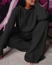 Black Long sleeve loose hooded casual suit
