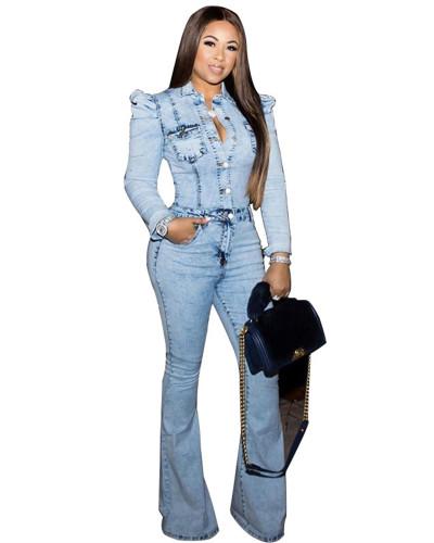 Light Blue Fashion casual slim bodysuit