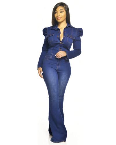Dark Blue Fashion casual slim bodysuit