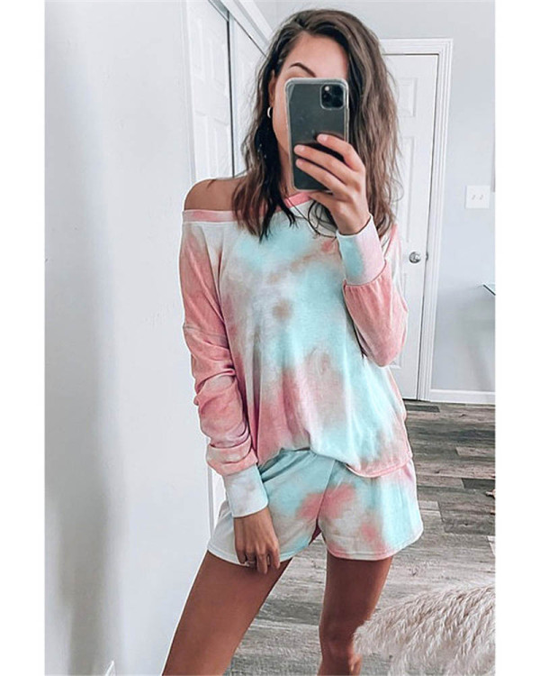 Fashion printed long-sleeved casual home service suit
