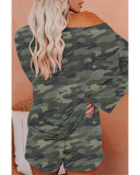 Camouflage Fashion printed long-sleeved casual home service suit