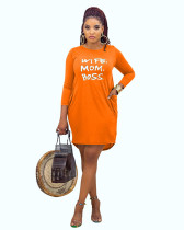 Orange Casual home letter offset printing autumn and winter dress