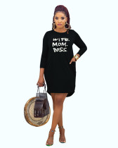Black Casual home letter offset printing autumn and winter dress
