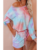 Pink Fashion printed long-sleeved casual home service suit