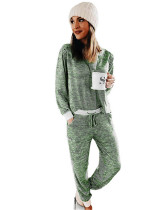 Green Printed stripes stitching casual suit