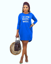 Blue Casual home letter offset printing autumn and winter dress