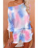 Bule Fashion printed long-sleeved casual home service suit