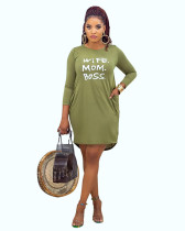 Green Casual home letter offset printing autumn and winter dress