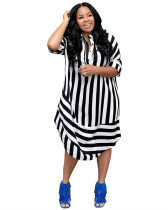 Black Casual striped lapel short sleeve shirt dress