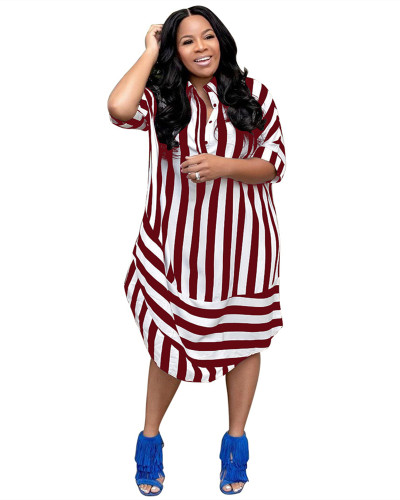 Red Casual striped lapel short sleeve shirt dress