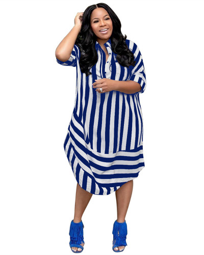 Blue Casual striped lapel short sleeve shirt dress