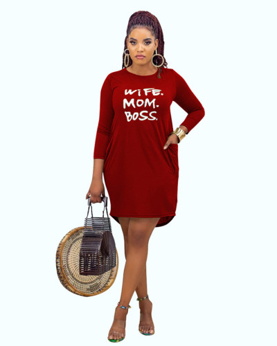 Red Casual home letter offset printing autumn and winter dress