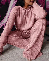 Pink Long sleeve loose hooded casual suit