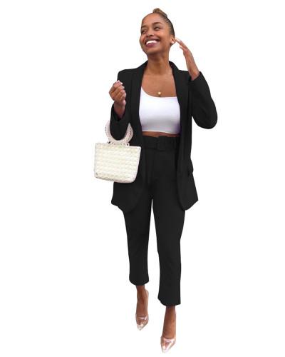Black Fashion casual suit suit ankle pants