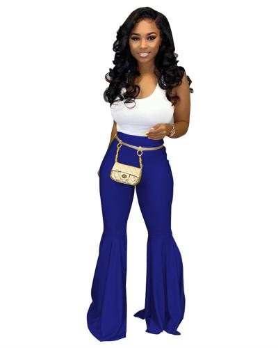 Blue PU leather fashion casual flared leather pants