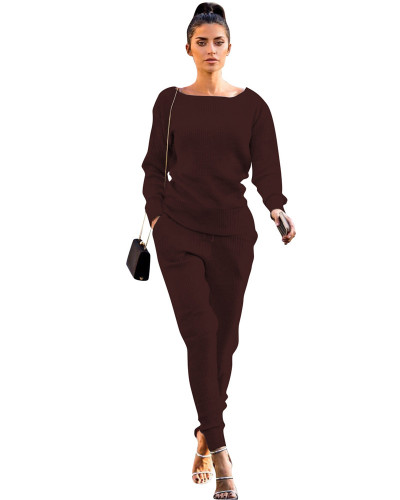 Coffee Autumn and winter urban casual long-sleeved two-piece suit