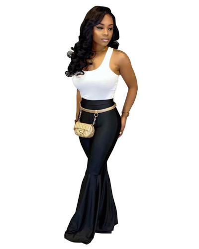 Black PU leather fashion casual flared leather pants