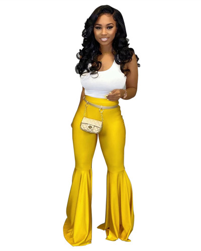 Yellow PU leather fashion casual flared leather pants