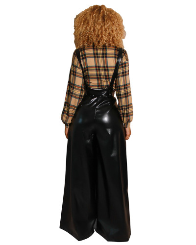 Black Sexy belted PU leather suspenders flared pants