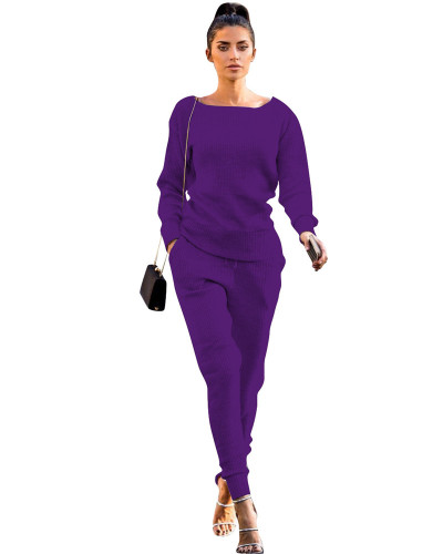 Violet Autumn and winter urban casual long-sleeved two-piece suit