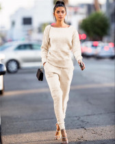 Apricot Autumn and winter urban casual long-sleeved two-piece suit