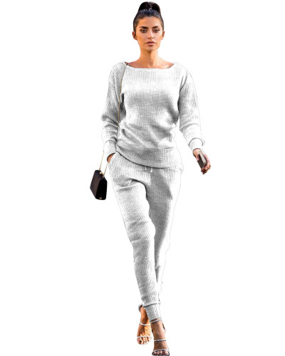 Light gray Autumn and winter urban casual long-sleeved two-piece suit