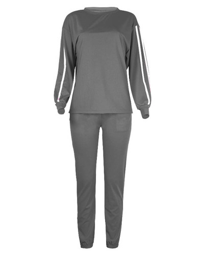 Gray Fashion loose long sleeve casual suit