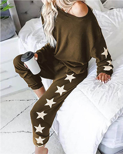 Brown Loose fashion printed long-sleeved casual suit