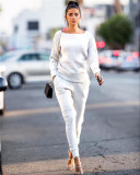White Autumn and winter urban casual long-sleeved two-piece suit