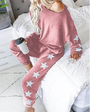 Pink Loose fashion printed long-sleeved casual suit