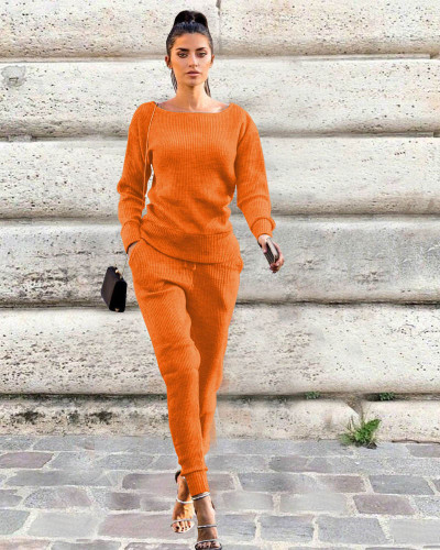 Orange Autumn and winter urban casual long-sleeved two-piece suit