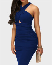 Blue Sexy solid color cross strap sleeveless hip dress