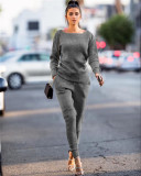 Dark gray Autumn and winter urban casual long-sleeved two-piece suit