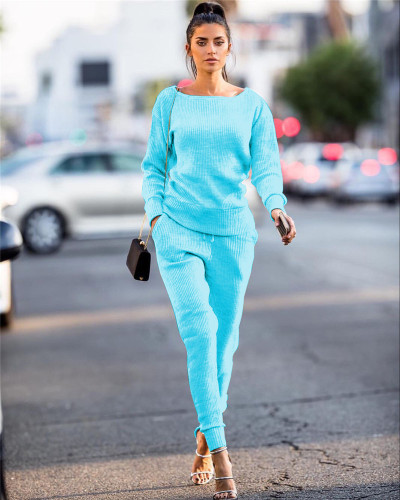 Sky bule Autumn and winter urban casual long-sleeved two-piece suit