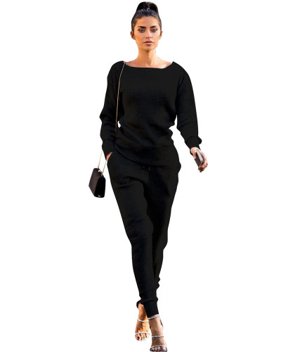 Black Autumn and winter urban casual long-sleeved two-piece suit