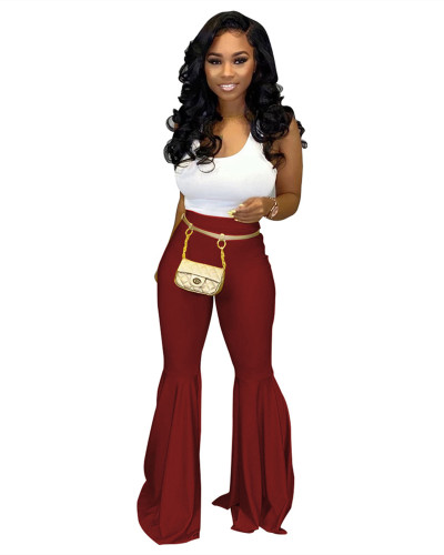 Red PU leather fashion casual flared leather pants