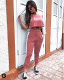Pink Round Neck Short Sleeve Crop Navel Casual Suit
