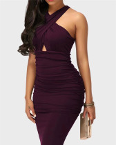 Purple Sexy solid color cross strap sleeveless hip dress