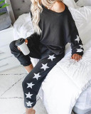 Black Loose fashion printed long-sleeved casual suit