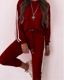 Claret Fashion loose long sleeve casual suit