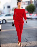 Red Autumn and winter urban casual long-sleeved two-piece suit