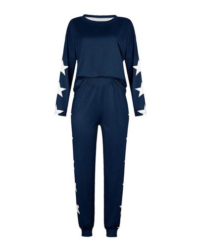 Dark bule Loose fashion printed long-sleeved casual suit
