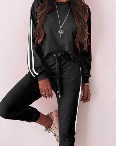 Black Fashion loose long sleeve casual suit