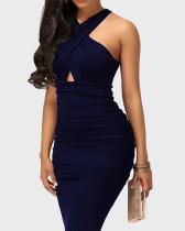 Dark Blue Sexy solid color cross strap sleeveless hip dress
