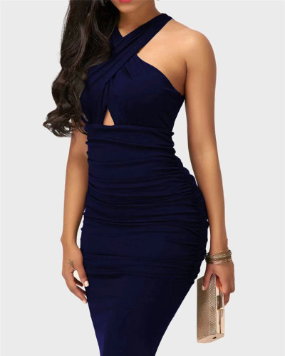 Dark Blue Sexy solid color cross strap sleeveless hip dress