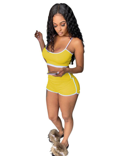 Yellow Two-piece fashion suspender vest and shorts
