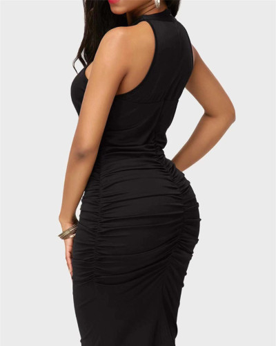 Black Sexy solid color cross strap sleeveless hip dress
