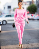 Pink Autumn and winter urban casual long-sleeved two-piece suit